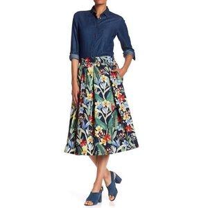 Philosophy Botanical Floral Pleated Midi Skirt